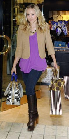 Look of the Day › November 27, 2009 WHAT SHE WORE Bell layered a SMYTHE cropped jacket over a ruffled chiffon top and added black jeans and knee-high boots WHERE At Henri Bendel in L.A.'s Beverly Center