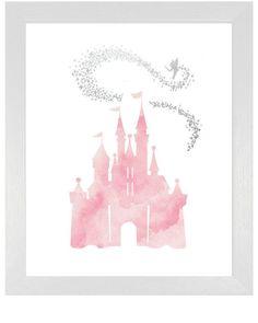 Das pinke Cinderella-Schloss macht sich in einem Mädchen-Kinderzimmer ganz besonders gut. #kinderzimmer #mädchen #märchen #cinderella #bilder #wandgestaltung