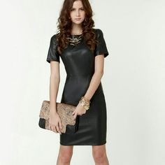 Nwot! Olivacious Black Synthetic Leather Dress