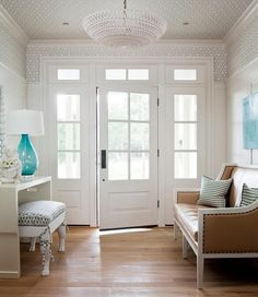 Gorgeous Entryway With Wallpaper Ceiling
