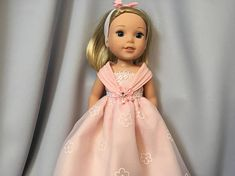 14.5 Inch Doll Clothes Pink Special Occasion Long Dress with Headband for dolls like Wellie Wishers