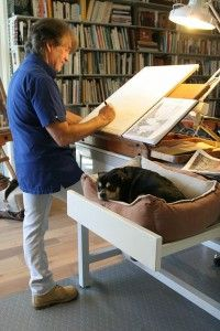 Thomas Schaller at his art studio in Venice, CA    Love that he has the dog bed right there...