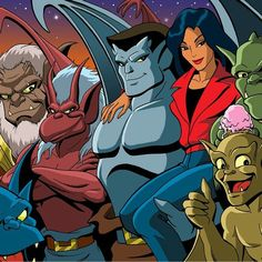 Goliath with Elisa, Hudson, Bronx, Brooklyn, Broadway & Lexington from Disney Gargoyles Gargoyles Cartoon, Disney Gargoyles, Gargoyles Characters, Comic Art Community, 90s Cartoons, Cartoon Pics, Cartoon Art, Classic Cartoons, Anime Life