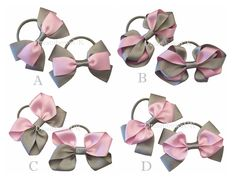 Grey and baby pink grosgrain ribbon hair bows on thick bobbles, girls ribbon hair accessories, thick hair elastics, thick hair ties