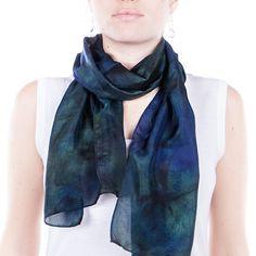green tartan silk scarf /  green and navy scarf / by CeliaEtcetera