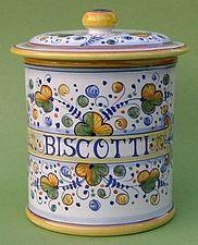 Autunno Verde Italian ceramic biscotti cookie jar