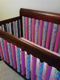 Handmade vertical crib bumpers from www.facebook.com/sewadorablebaby