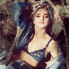 Madonna, blue lace bra. Rare pic