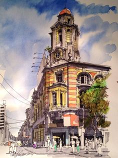 Urban sketch of Yangon by Graham Lewis. I like how this urban drawing is different to others through the use of bright colours, i like how it represents a different art of the world today Building Drawing, Building Sketch, Watercolor Architecture, Architecture Drawings, Pen And Watercolor, Watercolor Illustration, City Drawing, Urban Sketchers, Sketch Painting