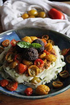 This Rawsome Vegan Life: marinated zucchini noodles with tomato basil sauce, dried baby tomatoes & garlic portobello meatless balls