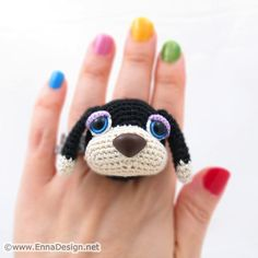 "A pet on your finger? This amigurumi dog is a perfect way to avoid that ""no pets allowed"" rule."