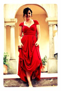 Maternity Convertible Dress / Maternity Satin Red Rouge by mimetik, $78.00