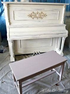 ASCP - Paloma followed by Old White, with clear and dark wax. Chalk paint, so no sanding needed—no risk of ruining the piano with sanding.
