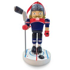 Hockey Nutcracker Ornament - personalize with name and number!