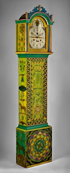 Books. Expressions of Innocence and Eloquence. Tall-case clock, New England, ca. 1830. Decoration attributed to George Robert Lawton Sr. (1813–1885). Photography by Gavin Ashworth.