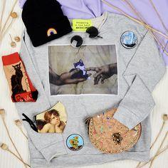 #cat #art #accessories #pattern #sunglasses #patch #angel #catnoir #chat #sweater #rainbow #szputnyikshop #budapest Leather Ring, Cat Art, Budapest, Rainbow, Angel, Sunglasses, Casual, Pattern, Sweaters