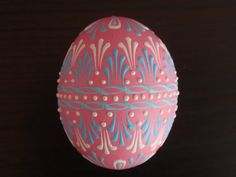 Pink Easter Egg, Wax Embossed Chicken Egg Pysanka