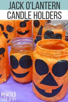 I'm sharing my favorite Halloween craft perfect for preschool, kindergarten, or first grade students! These easy DIY candle holders make an adorable gift for parents and can be paired with battery operated tea lights for a showstopper display! #halloweencrafts #kindergarten #firstgrade #preschool #halloweenprojects