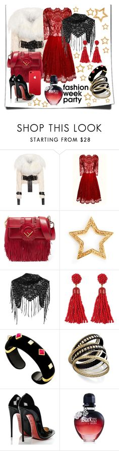 """Fashion Week in Red"" by drahuschka ❤ liked on Polyvore featuring Monse, Chi Chi, Fendi, Henri Bendel, Alexander McQueen, Margot McKinney, Bar III, Christian Louboutin and Paco Rabanne"