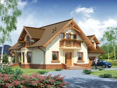 Description House with attic, intended for family.On the ground floor there is a spacious living room open to the. Modern Bungalow House, Craftsman Style House Plans, House With Balcony, My House, Home Design Images, Loft Room, Spacious Living Room, New House Plans, Design Case