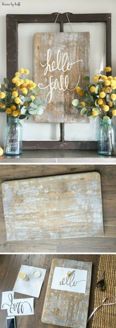 Marvelous 17 Coolest DIY Fall Decoration Ideas www.futuristarchi… The post 17 Coolest DIY Fall Decoration Ideas www.futuristarchi…… appeared first on Home Decor . Easy Home Decor, Handmade Home Decor, Cool Diy, Diy Décoration, Easy Diy, Simple Diy, Diy Signs, Wood Signs, Rustic Signs