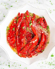 Learn how to make Roasted Red Peppers marinated in the most incredible garlic sauce. Use them in sauces, salads, dips, sandwiches, or all on their own as a side dish. This recipe could not get any easier! Vegetable Recipes, Chicken Recipes, Great Roasts, Garlic Chicken, Tandoori Chicken, Roasted Red Peppers, Garlic Sauce, Yum Yum Chicken, Vegetable Side Dishes