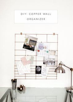 DIY copper office wall organizer - a great way to create an inspiration board! | coco+kelley