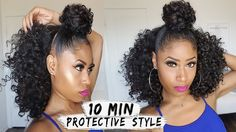 EASY 10-MIN BUN + HALF DOWN CURLY STYLE! | hair how-to [Video] - https://blackhairinformation.com/video-gallery/easy-10-min-bun-half-curly-style-hair-video/