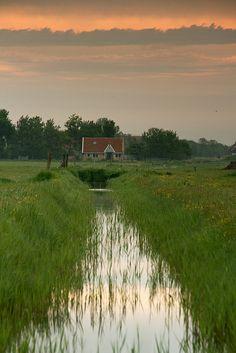Cours d'eau et paysage verdoyant, Province de Frise, Pays-Bas   Friesland. The Netherlands