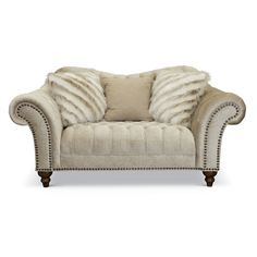 Traditional Golden Sand Loveseat - Lorraine | RC Willey Royal Room, Living Spaces, Living Room, Chesterfield Sofa, Toss Pillows, Traditional House, Mid-century Modern, Modern Living, Lorraine