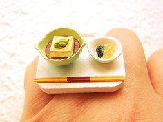 Kawaii Japanese Miniature Food Ring Tofu Food by SouZouCreations, $12.50