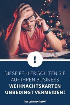 Vermeide diese Fehler in deinen Weihnachtstexten auf deiner geschäftlichen Weihnachtskarte, damit die Karte ein voller Erfolg wird! Mit diesen Tricks wird deine geschäftliche Karte zu Weihnachten ein Erfolg und bindet deine Kunde nachhaltig an dich! Gestalte mit Hilfe unserer Textbausteine eine professionelle Business Weihnachtskarte für deine Kunden - egal ob du Entrepreneur oder Mittelständler bist! Tricks, Christmas Is Coming, Custom Holiday Cards, Company Christmas Party Ideas, Self Promotion
