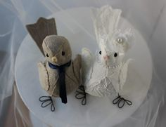 Custom Wedding  Love birds Cake topper - Bird cake topper in Natural and Ivory linen lace  fabric. $74.00, via Etsy.