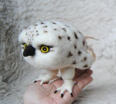 Cute Baby Snowy Owl | Needle Felted Baby Snowy Owl READY TO SHIP by willane on Etsy