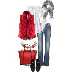 Denim & Red by simple-wardrobe, via Polyvore