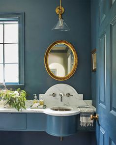 Podcast, Ep. 178: Picking Paint Colors with Fran Keenan | How to Decorate Powder Room Paint, Blue Powder Rooms, Dark Paint Colors, Bathroom Paint Colors, Inviting Home, Ballard Designs, Elle Decor, Interior Design, Bathrooms