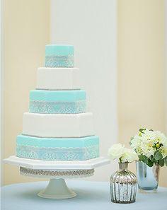 Tiffany Blue & Lace Tiered Wedding Cake Photo