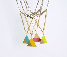 {painted triangle necklaces} geometrically awesome