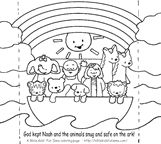 Easy, fun Noah's ark craft that children color and fold to make a Noah' ark stand-up scene.