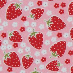 cute pink Michael Miller fabric Strawberry Florets  pink fabric with many red strawberries and white florets from the USA
