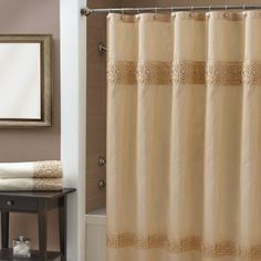 Croscill Giralda Shower Curtain in Ivory - The polyester faux silk shower curtain has borders running across top and bottom that use a special, three dimensional, hand done technique rare to find today. #showercurtain #bathroom #homedecor
