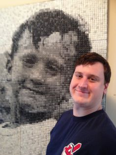 Julie Eakes: Labor of Love.  A polymer clay portrait of her son, Kevin.  She used all black & white and shades of gray polymer clay canes.  Unbelievable.