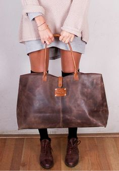 Leather Carry All Tote needed to carry all art gear to and from the studio