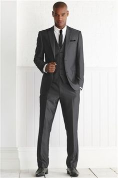 Dark charcoal suit and brown/tan shoes [photos insinde ...