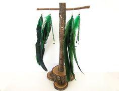 Beaded Feather Earrings Long Dangle Earrings Shoulder Dusters