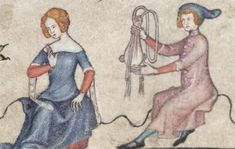 """""""Stop making me hold your purse, bitch"""" """"Talk to the hand"""" Bodleian Library MS Bodl. the mid-fourteenth-century edition of the Romance of Alexander Maybe a marriage proposal? Medieval Life, Medieval Fashion, Medieval Clothing, Medieval Art, Renaissance Art, Medieval Costume, Medieval Dress, Historical Costume, Historical Clothing"""