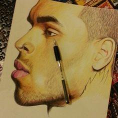 Chris Brown Portrait Drawing by Musa Drammeh, via Behance Chris Brown Drawing, Chris Brown Art, Cool Drawings, Drawing Sketches, Watercolor Pencils, Watercolour, Biro, Portrait, Artwork