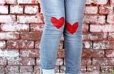 Heart-Decorated Denim