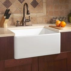 "20"" Rockville Single Bowl Fireclay Farmhouse Sink with Brushed Drain - White"