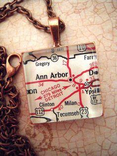 Vintage Ann Arbor Michigan Map Pendant Necklace